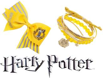Bioworld Harry Potter Hufflepuff Cheer Hair Bow N' Arm Party Bracelet Jewelry Set