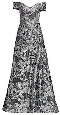 Rene Ruiz Collection Women's Off-The-Shoulder Fil Coupé Sequin Ball Gown