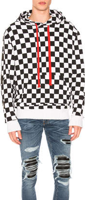 Amiri Check Star Pullover Hoodie in Black & White | FWRD