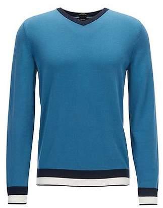 HUGO BOSS Egyptian cotton sweater with a V neckline