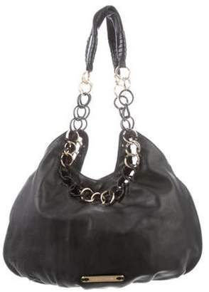 Michael Kors Grained Leather Chain-Link Bag Black Grained Leather Chain-Link Bag