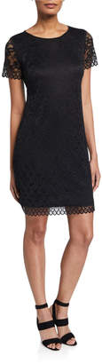 Chetta B Lace Scallop Sheath Dress