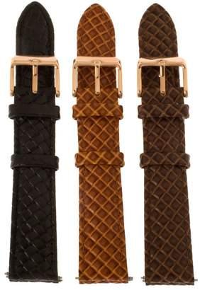 Bronze 18mm Set of 3 Leather Watch Straps byBronzo Italia