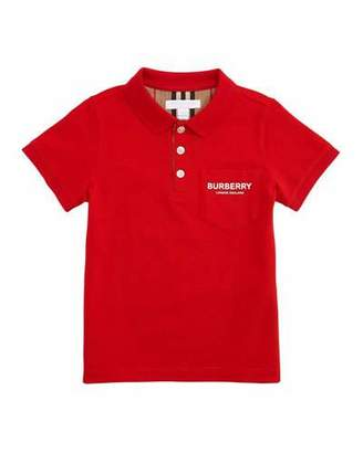 Burberry Wesley Polo Shirt w/ Logo Print Front Pocket, Size 3-14
