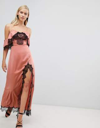 Asos Lace Paneled Cold Shoulder Maxi Dress