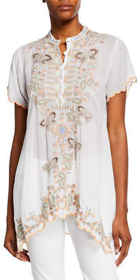 Johnny Was Monark Embroidered Short-Sleeve Georgette Tunic