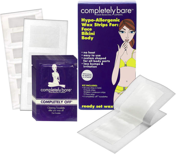 Completely Bare Ready, Set, Wax! Wax Strips Kit for Face, Bikini & Body