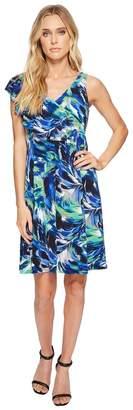 London Times Shoulder Ruffle Fit Flare Dress Women's Dress