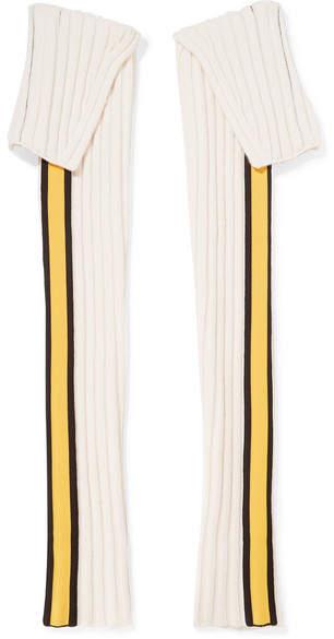 Striped Wool-blend Sleeves - Cream