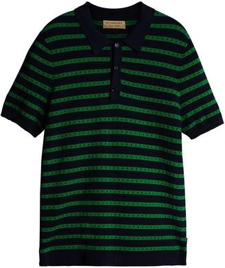 Burberry Striped Knitted Cotton Polo Shirt