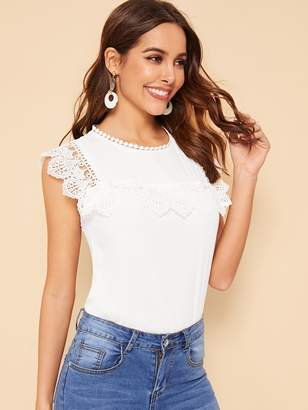 fcb05f0ca3 Shein Keyhole Back Lace Trim Solid Top