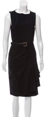 Michael Kors Belt-Accented Wool Midi Dress