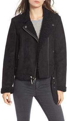 Maralyn & Me Faux Shearling Lined Moto Jacket
