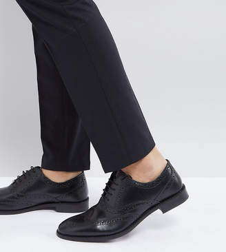 Asos Wide Fit Oxford Brogue Shoes in Black Leather