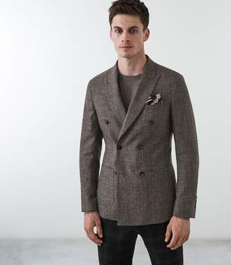 Reiss BOSTRUS DOUBLE BREASTED BLAZER Brown