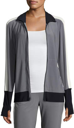 Norma Kamali Side-Stripe Turtle Athletic Jacket, Gray