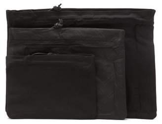 Maison Margiela Set Of Three Stereotype Nylon Pouches - Mens - Black