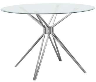 Southern Enterprises Atticus Round Glass Dining Table, Multiple Finishes