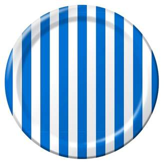 "Spritz Stripe Dinner Plates Royal Blue 9"" 10ct"