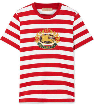 Burberry Appliquéd Striped Cotton-jersey T-shirt - Red
