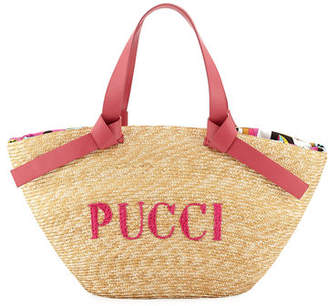 Emilio Pucci Logo Beach Tote Bag with Leather Straps