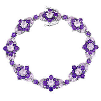 Laura Ashley FINE JEWELRY Laura Asley Genuine Purple Amethyst Sterling Silver Flower 7.25 Inch Tennis Bracelet