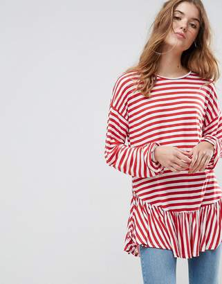 Asos Top with Balloon Sleeve and Ruffle Hem in Stripe