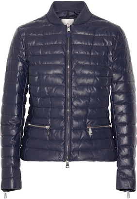 Moncler - Buglose Quilted Leather Down Jacket - Midnight blue $2,550 thestylecure.com