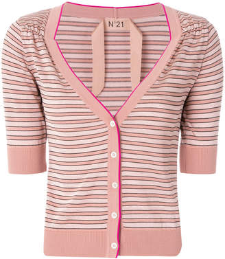 No.21 striped short-sleeve cardigan