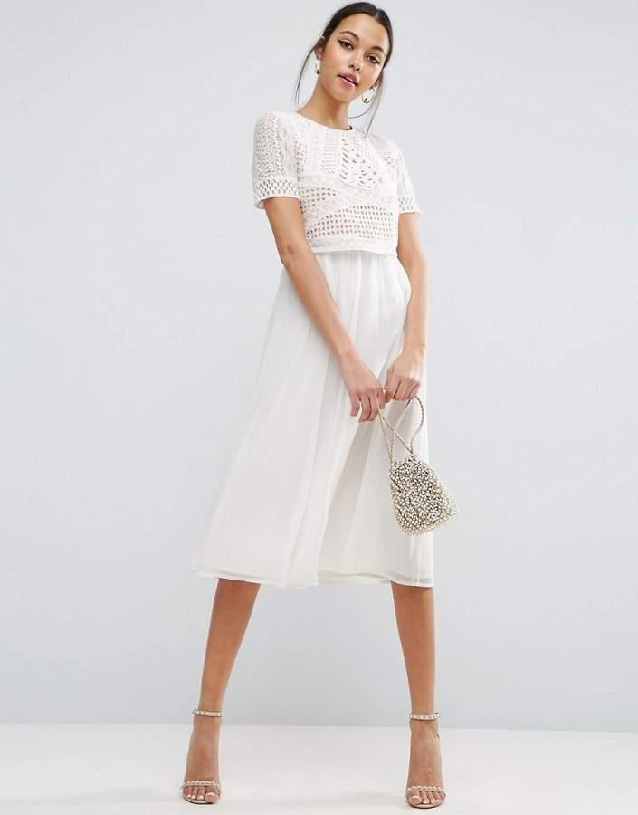 AsosASOS Heavy Applique Crop Top Midi Dress