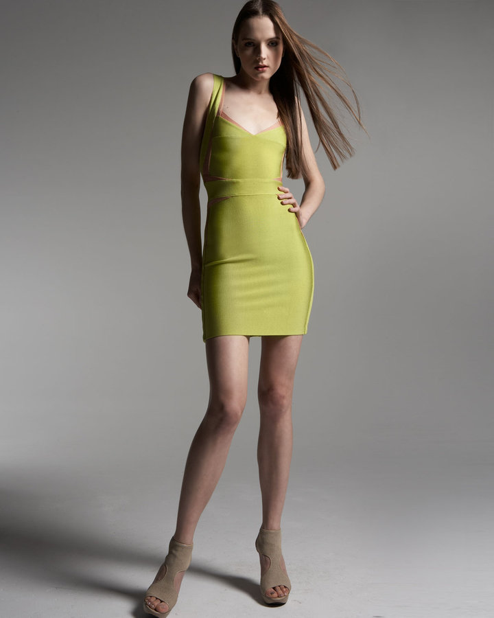 Herve Leger Estelle Heart-Neck Dress
