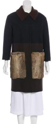 Hache Fur-Trimmed Wool Coat w/ Tags