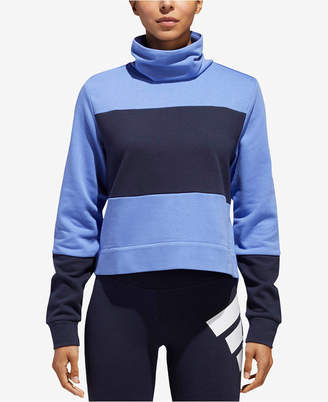 adidas Sport 2 Street Funnel-Neck French Terry Cropped Sweatshirt