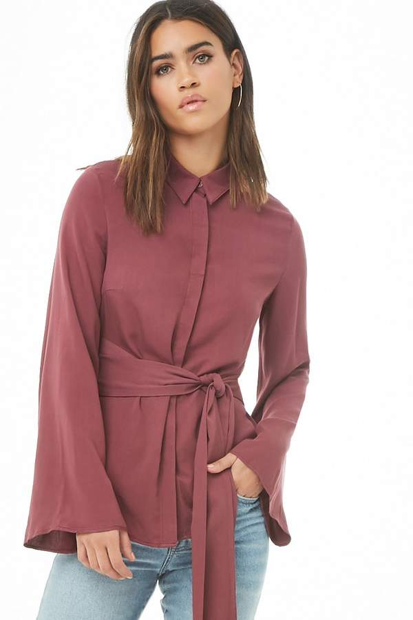 Forever 21 Cutout Tie-Back Shirt