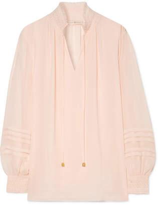 Tory Burch Haley Shirred Silk Blouse - Pink