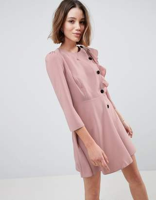 Asos Design Ultimate 40's Mini Tea Dress With Buttons