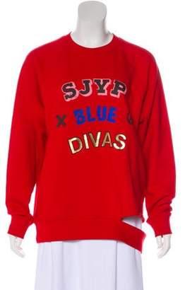 Sjyp Printed Distressed Sweatshirt
