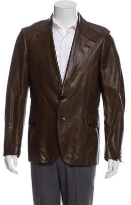 Gucci Leather Tonal Tab-Collar Jacket