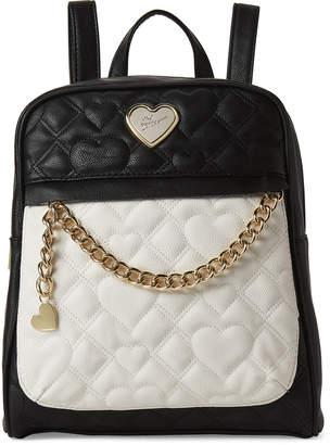 3864087b7d Betsey Johnson Black   Bone Chevron Heart Quilt Backpack