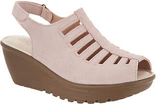 Skechers Suede Peep-toe Sling-back Wedges -Trapezoid