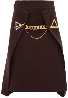 Bottega Veneta Chain Embellished Cashmere Skirt - Womens - Dark Brown