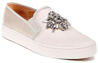 Badgley Mischka Barre Satin Embellished Slip-On Sneakers