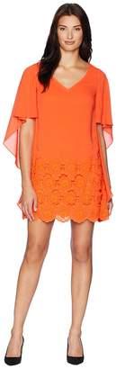 Tahari ASL Embroidered Crepe V-Neck Dress Women's Dress