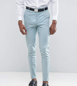 Asos DESIGN TALL Wedding Skinny Suit Pant In Light Blue Stretch Cotton