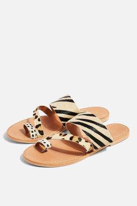 Topshop HONEY Leather Animal Flat Sandals