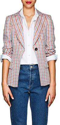 Giorgio Armani WOMEN'S GINGHAM LINEN ONE-BUTTON BLAZER