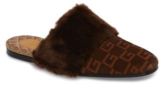Gucci Square-G Faux Fur Slipper