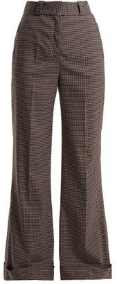 See by Chloe Mini Check Wide Leg Trousers - Womens - Navy Multi
