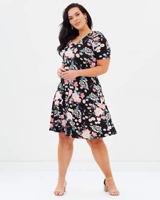 Evans Floral Fit-And-Flare Dress