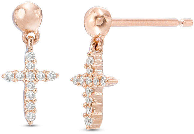 Zales Diamond Accent Cross Drop Earrings in 10K Rose Gold